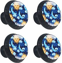 Cabinet Knobs Sun Face and Moon Knobs for Dresser