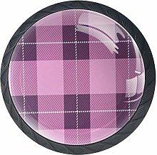 Cabinet Knobs Tartan Plaid Pink Pattern Knobs for