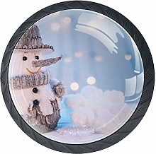Cabinet Knobs Tiny Snowman with Knitted Hat Scraft