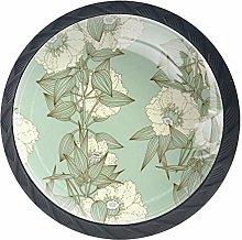 Cabinet Knobs Vintage Floral Plant Pattern Knobs