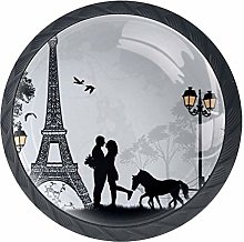 Cabinet Knobs with Love Couple France Paris Eiffel