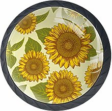 Cabinet Knobs Yellow Sunflowers with Green Leaves