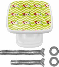 Cabinet Pull Floral with Green Zig Zag Stripes 4