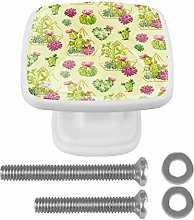 Cabinet Pull Green Cactus with Floral Geometric