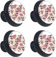 Cabinet Round Knobs Set of 4 GlassSkull with