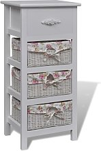 Cabinet with 1 Drawer and 3 Baskets White Wood