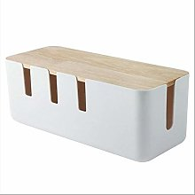 Cable Management Box Wood Lid Cord Organizer for