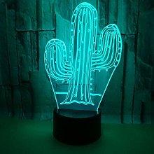 Cactus 3D Phantom Light, 3D Night Lights, 7 Colors