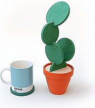 Cactus Coasters Green, with Flower Pot Holder 6PCS
