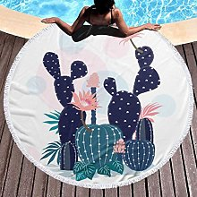 Cactus Printed Round Beach Towel Yoga Picnic Mat