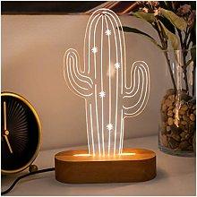 Cactus Shaped 3D Night Light. 3D Illusion Night