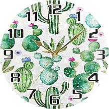 Cactus Succulent Floral Wall Clock Silent Non