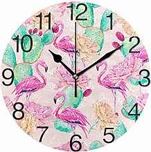 Cactus with Flamingo Round Wall Clock, Silent