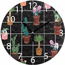 Cactus with Flower Round Wall Clock, Silent