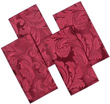 Cadiz Damask Effect Berry Red Pack Of 4 Table
