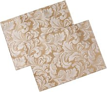 Cadiz Damask Effect Champagne Pack of 2 Placemats