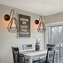 Cage Industrial Chandelier Retro Wall Lamp Black