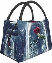 Cage Rose Pink Sakura Flowers Insulated Lunch Bag,