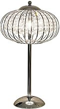 Caged Table Lamp, Metal, Chrome