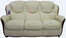 Cagliari 3 Seater Genuine Italian Cream Leather
