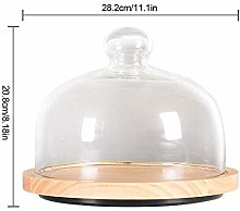 Cake Stand Wooden Turntable Dome Food Glass Plates