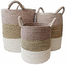 CALATHEA HOME Basket Martin Pink Large, Seagrass