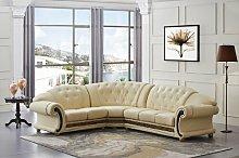 Caldanagh Leather Corner Sofa Astoria Grand