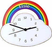 CalEli Gifts Personalised Kids Clock. Rainbow