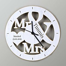 CalEli Gifts Personalised Mr And Mrs Wooden Clock.