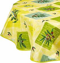 CALITEX Oilcloth Tablecloth Round 140 cm Olive