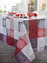CALITEX Oilcloth Tablecloth with Oriental Patch