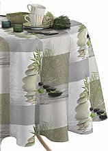 CALITEX Round Oilcloth Tablecloth, PVC, beige,