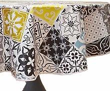 CALITEX Round Oilcloth Tablecloth, PVC, grey,