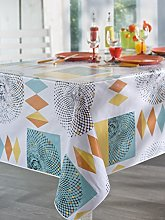 CALITEX Round Oilcloth Tablecloth, PVC,