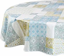 CALITEX Tablecloth Oilcloth Mirano Blue Oval 180 x