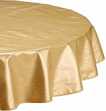 CALITEX Woven Effect Oilcloth Tablecloth, Gold,