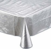 CALITEX Woven Effect Oilcloth Tablecloth, Silver,