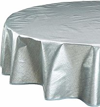 CALITEX Woven Oilcloth Tablecloth, Silver, 140 x