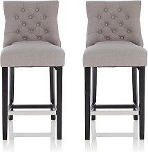 Calvia Bar Stools In Grey Fabric With Black Legs
