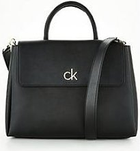 Calvin Klein Re-Lock Medium Tote With Flap - Black
