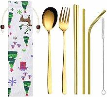 Calvinbi6 Pcs Camping Cutlery Set Stainless