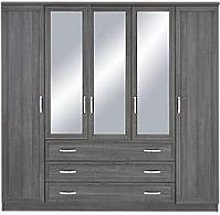 Camberley 5 Door 3 Drawer Mirrored Wardrobe