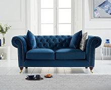 Cameo Chesterfield Blue Velvet 2 Seater Sofa
