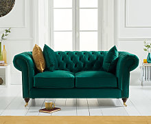 Cameo Chesterfield Green Velvet 2 Seater Sofa