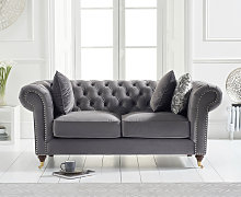 Cameo Chesterfield Grey Velvet 2 Seater Sofa