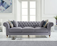 Cameo Chesterfield Grey Velvet 3 Seater Sofa