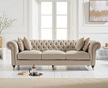 Cameo Cream Linen 3 Seater Sofa