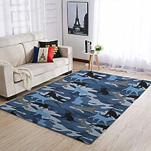 Camouflage Cat Blue Area Rug Patterned Ultra Soft