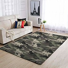 Camouflage Cat Green Area Rug Patterned Warm