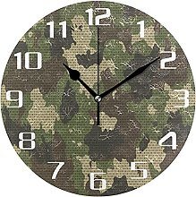 Camouflage Point Wall Clock Silent Non Ticking,